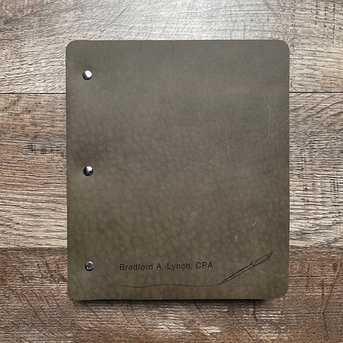 Custom Order Brad L - Wide Cut - Refillable Leather Binder 20201215