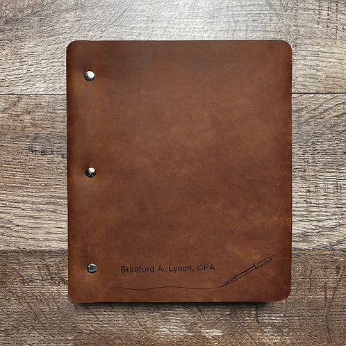 Custom Order Brad L - Wide Cut - Refillable Leather Binder 20201230