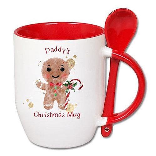 Personalised Gingerbread People Red Christmas Mug and Spoon Set