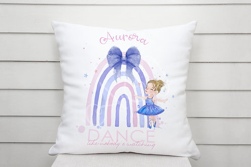 Personalised Dance Like Nobody is Watching - Ballet Rainbow Cushion