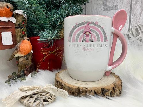 Personalised Pink Christmas Gonk / Winter Rainbow Mug & Spoon Set