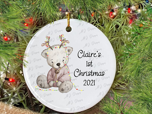 Personalised 1st Christmas Teddy Decoration (3 colours available)
