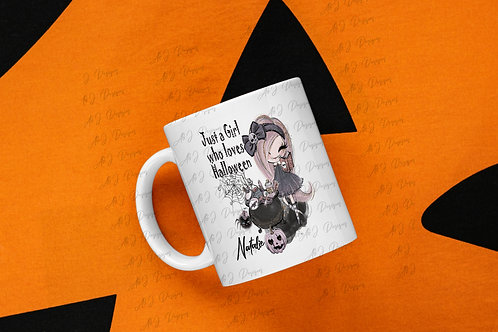 Just a girl who loves Halloween personalised mug