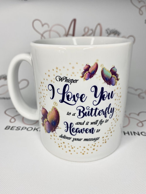 Send a butterfly message to heaven mug