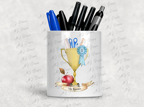 Personalised No 1 Teacher Trophy Pen / Pencil Pot Holder