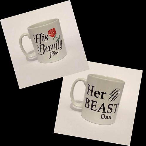 Her Beauty & His Beast Couple's Mugs