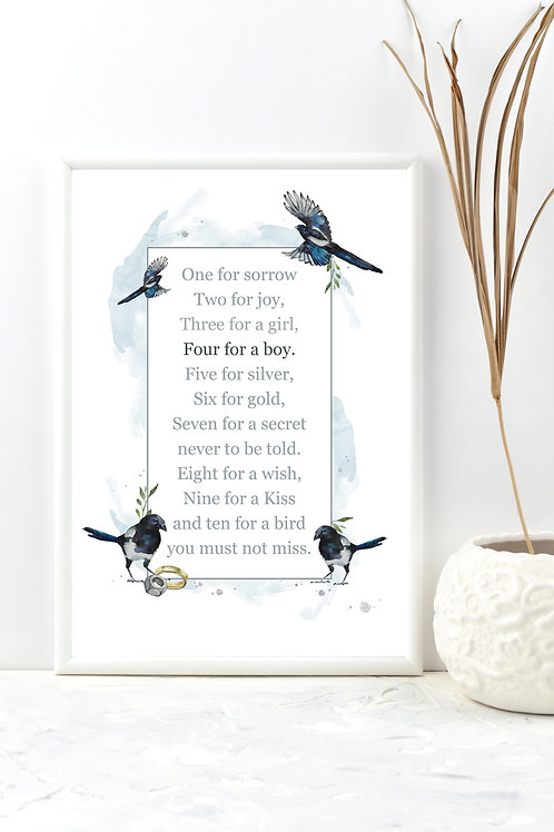 Four For A Boy, Magpies Print (print only)