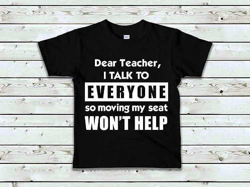 I talk to everyone in class kids' t-shirt