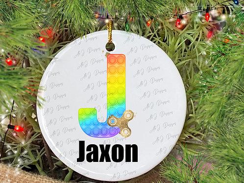 Personalised Christmas Fidget Alphabet Decoration, Fidget Toy Hanging Ornament,C