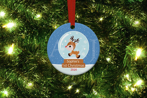 Personalised Snowglobe 1st Christmas Ornament (5 variations)