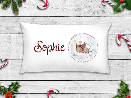 Personalised Christmas Eve Sleepy Mouse Pillow Case
