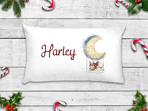 Personalised Christmas Eve Sleepy Mouse Balloon Pillow Case