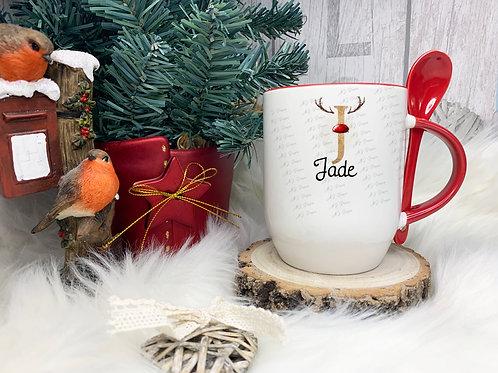 Personalised Christmas Red and Gold Mug & Spoon Set