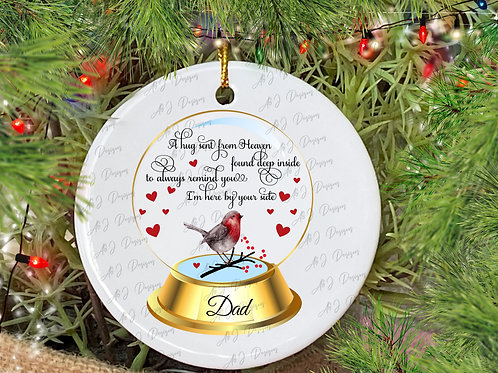 Personalised Memorial Robin Snowglobe Christmas Decoration