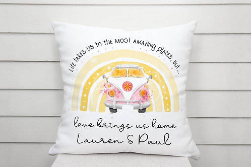 Personalised Campervan Cushion - Travel - Love Brings Us Home