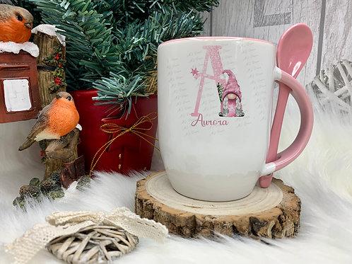 Personalised Pink Christmas Gonk Mug & Spoon Set