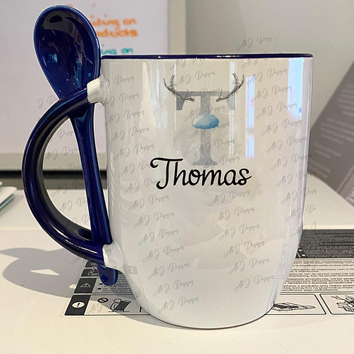 Personalised Christmas Silver Mug & Spoon Set (Blue)