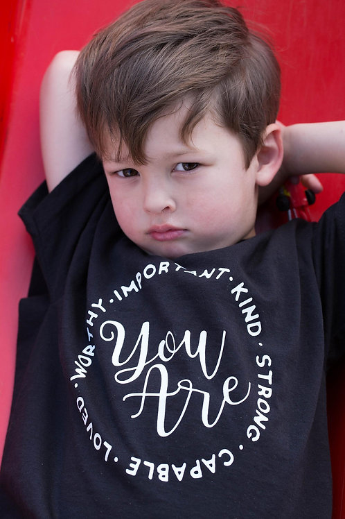 You are worthy, kind, important slogan, quote kids / baby t-shirt