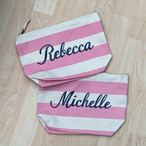 Personalised Striped Makeup / Beauty Bag