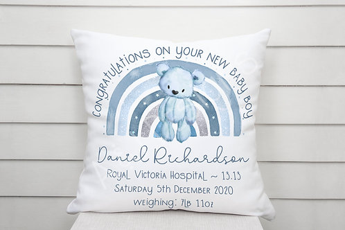 Personalised New Baby Boy Bear Cushion