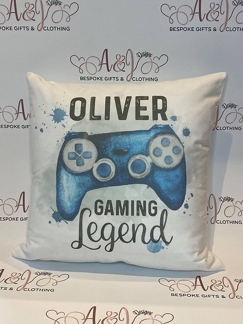 Personalised Gaming Legend Cushion (red, blue or gold)