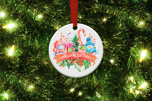 Personalised Snowman Family Christmas Ornament