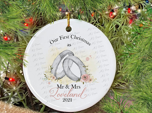 Personalised 1st Christmas as Mr & Mrs Christmas Decoration