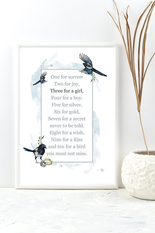 Three For A Girl, Magpies Print (print only)