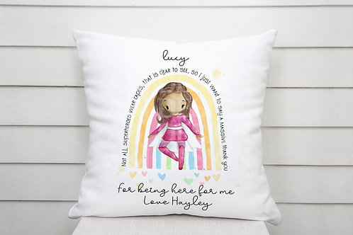 Personalised thank you superheros cushion - thank you for being here for me