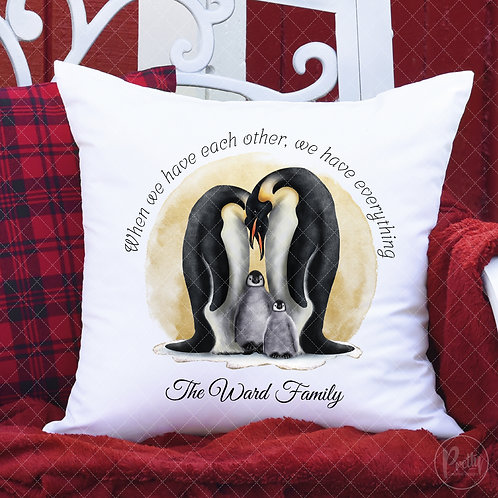 Personalised Penguin Family Cushion