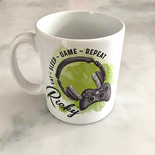 Personalised Gamer Eat, Sleep, Game, Repeat Mug