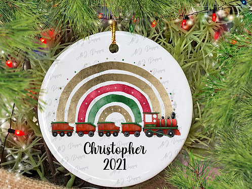 Personalised Ceramic Tree Decoration, Train Christmas Decoration, Hanging Decora