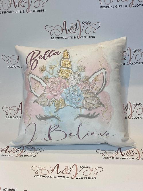 Personalised I Believe in Unicorns Cushion
