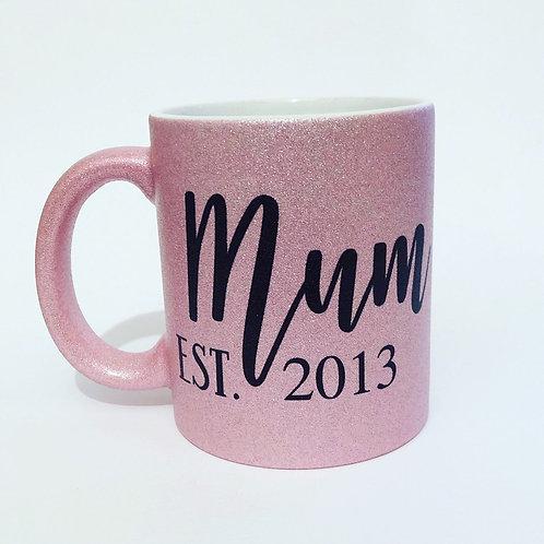 Mum Est. Year Glitter Sparkle Mug