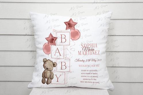 Personalised New Baby Bear Cushion