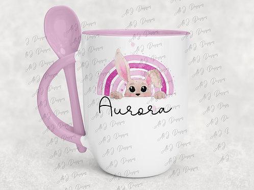 Personalised Easter Bunny Pink Mug & Spoon Set