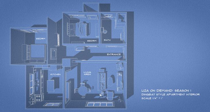 Apartment Set Plan - Built on stage
