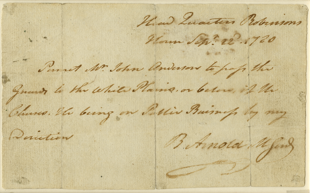Pass for John André (alias John Anderson) handwritten by Benedict Arnold [New York State Archives]