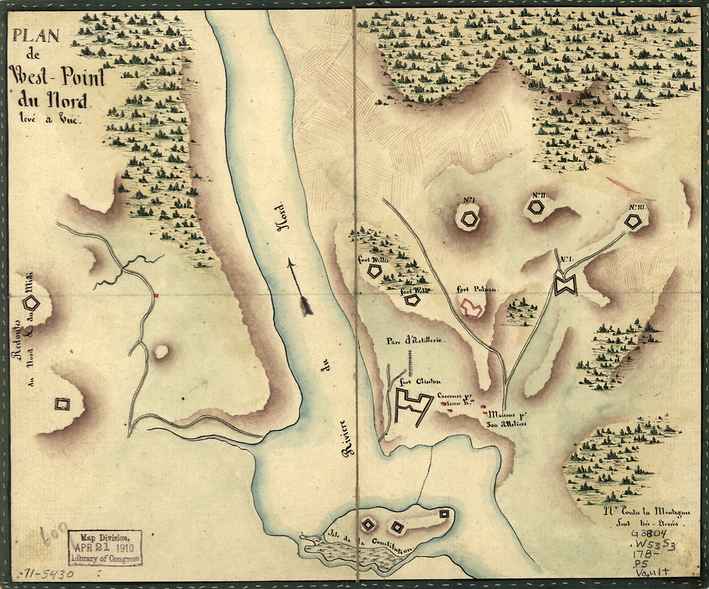 "French map of West Point, circa 1780. North and South Redoubts are shown far left, South Redoubt labeled as ""mid"" [Library of Congress]"