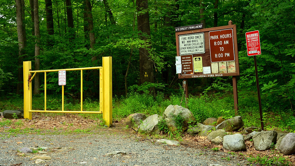 The yellow gate at Chikahoki Fire Road's entrance