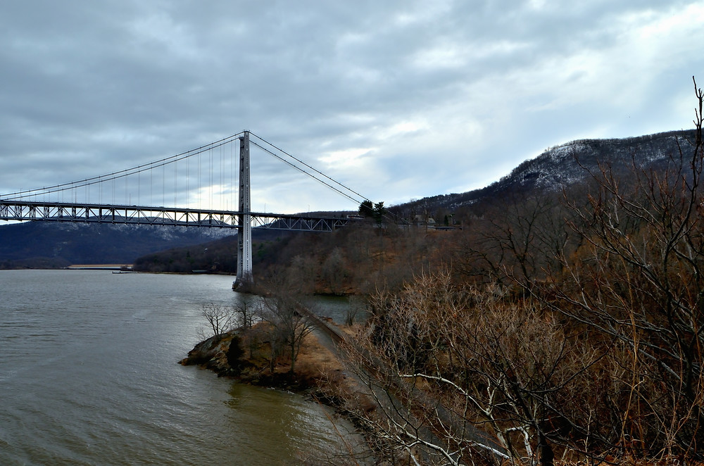 The Bear Mountain Bridge is anchored at the former site of Fort Clinton. Photo taken from Fort Montgomery State Historic Site.