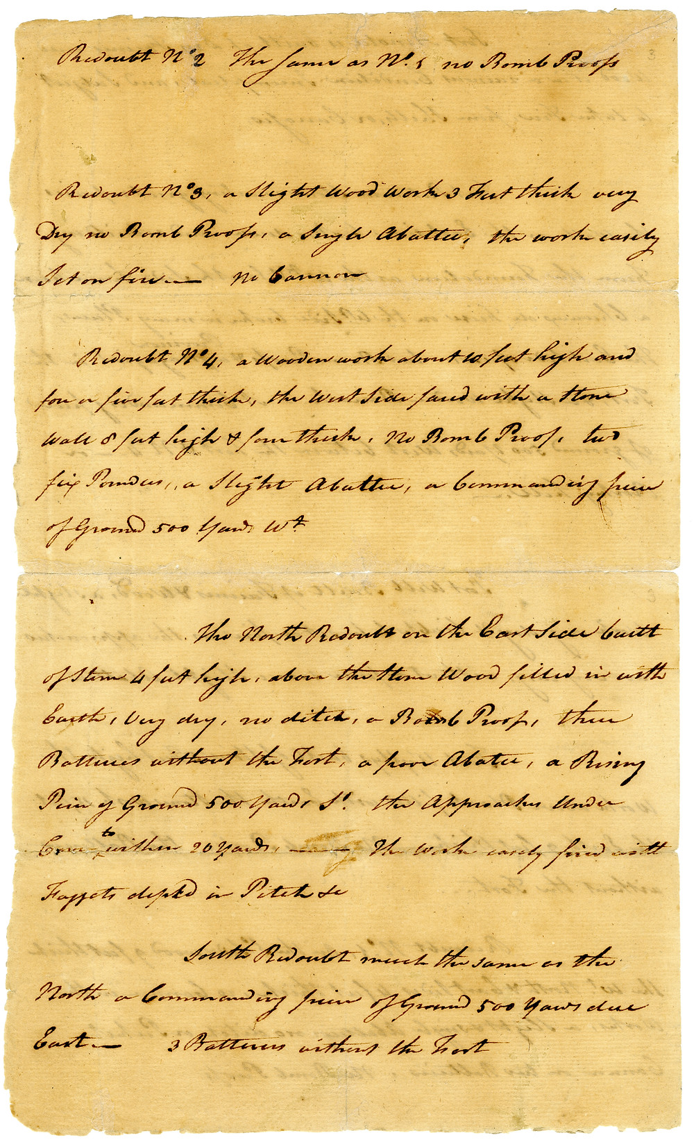 Benedict Arnold's handwritten details of West Point redoubts, including North and South Redoubts. [New York State Archives]