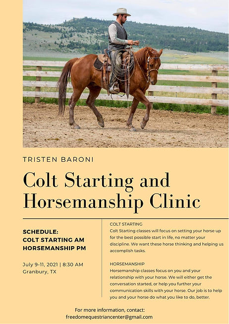 Colt Starting and Horsemanship Clinic