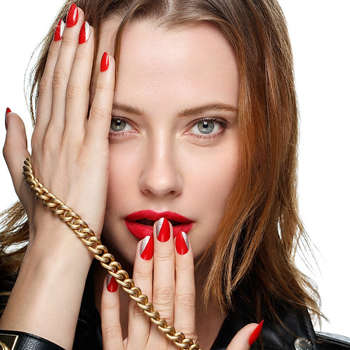 best red sparkle nails