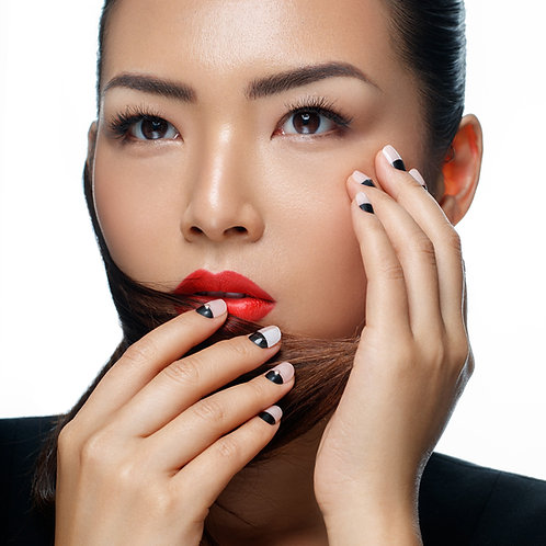beige press on nail with nail art