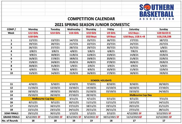 Season calendar Spring 2021