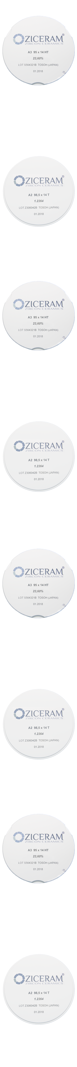 Диски диоксида циркония Ziceram 95мм и 98.5мм