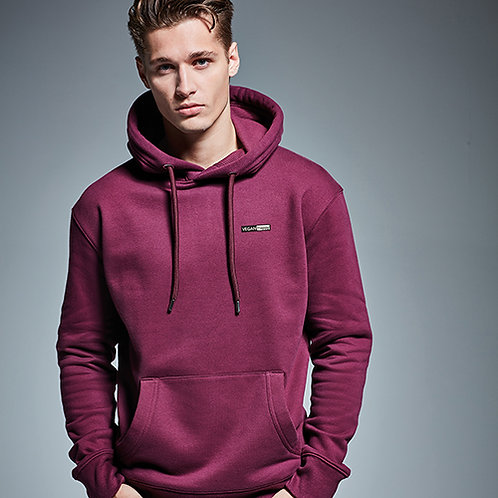 Vegan luxury hoodie unisex in 16 colours with subtle vegan logo shown in burgundy from Vegan Happy Clothing