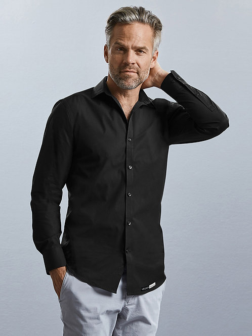 Vegan Men's Ultimate Stretch Shirt from Vegan Happy Clothing with subtle vegan logo