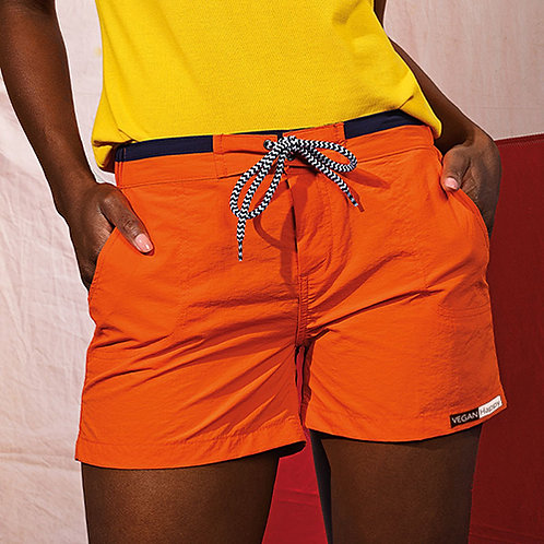 Vegan shorts women's beach and swim 100% animal cruelty free, shown in orange but available in 10 colours